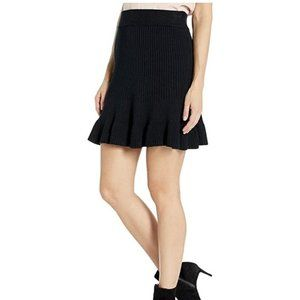 Free People Solid Gold Ribbed Mini Skirt In Black